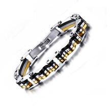 Vnox Biker Bracelet for Men Black Gold-color Surgical Steel Male Jewelry