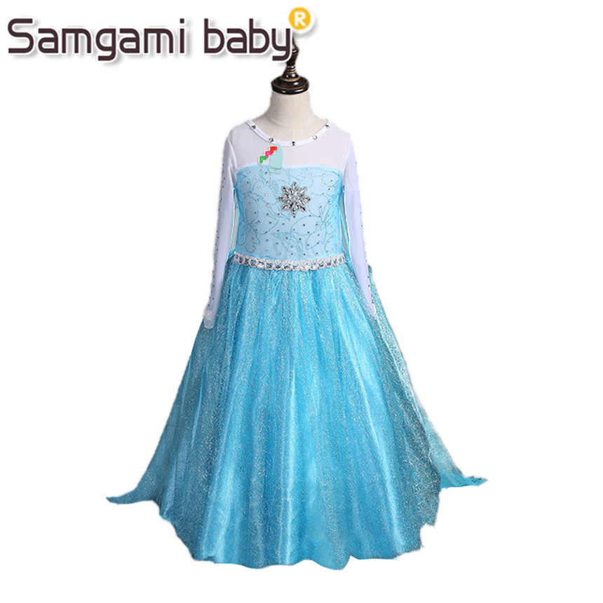 Samgami Baby 2017 Summer Style Girl Dress Princess Elsa Dress Children Halloween Snow Queen