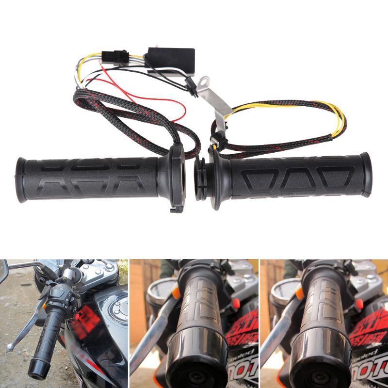 1 Pair 12V Motocross Universal Motorcyle Heated Grips Adjustable Motorbike/Bike Handlebar Hot/Warm Hands