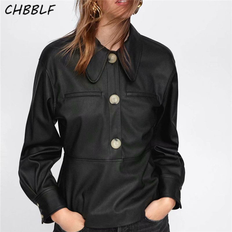 CHBBLF women stylish PU leather blouses buttons long sleeve pleated shirts female casual streetwear tops WEW5169