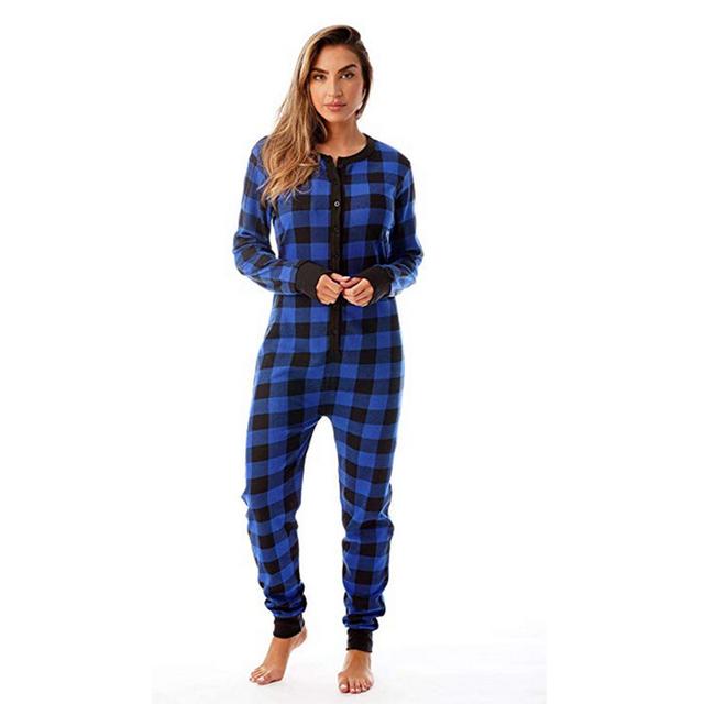Flannel Pajamas Plaid Onesie Women – 21JS