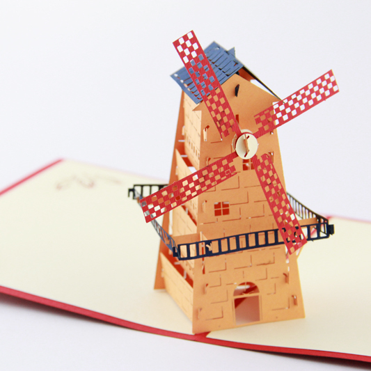 Holland Windmill  pop up card /3D  card  kirigami  card/ customize Free shipping music card spiral pop up musical notes 3d card music instruments pop up card bday pop up card