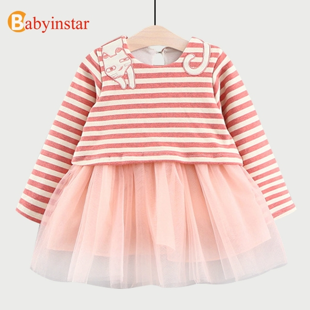 Babyinstar Chico S Vestidos Para Niñas 2018 Niñas Vestido Lindo Dibujo Gato Patrón Chico Outwear Niños Rayas Malla Vestido