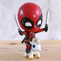 Deadpool Unicorn Riding Ver. Double Swords Bubble Head Marvel Cute Vinyle Figure Model Dolls Toys