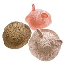 Cartoon Baby Hat for Boy Straw Summer with Ears Panama Children Hats Girls Cap Kids Bucket