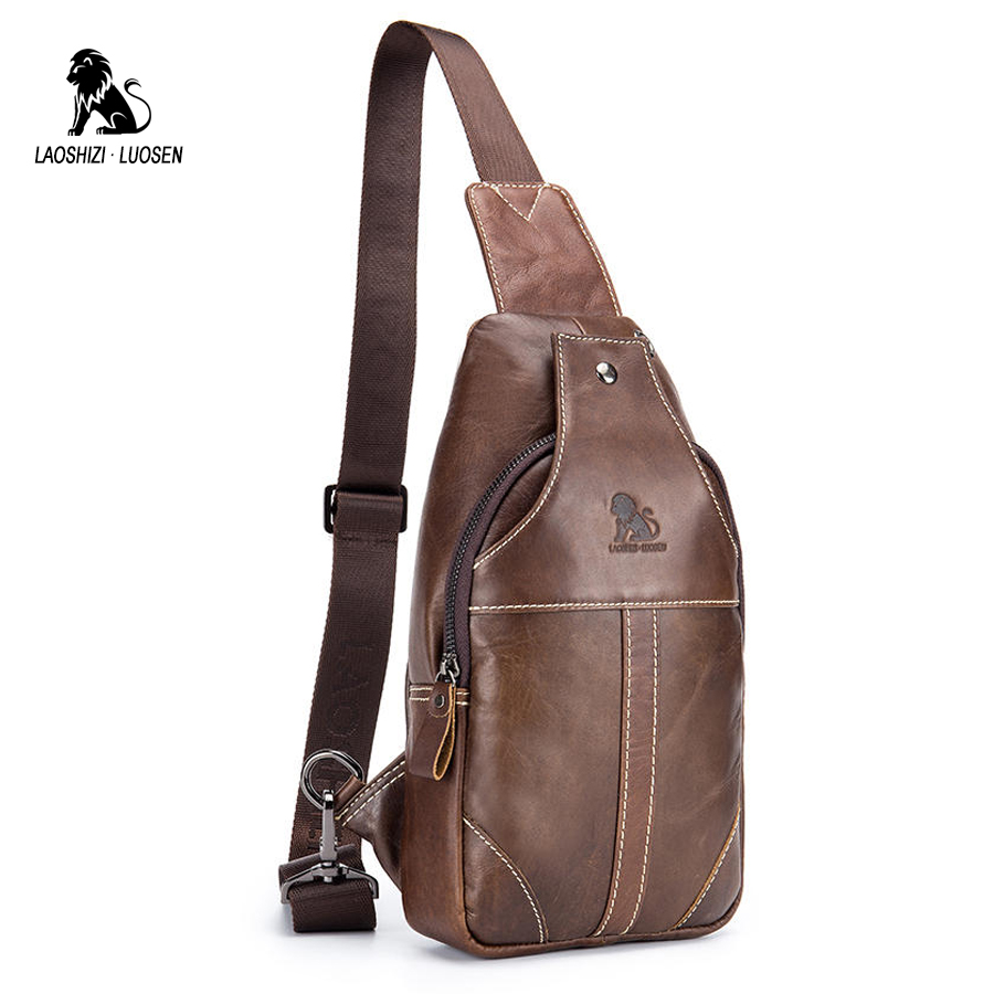 LAOSHIZI LUOSEN Shoulder Bag Men Chest Pack Messenger Bag Genuine Leather Chest Bag Crossbody Small Male Handbag Travel Cowhide laoshizi luosen genuine leather chest bag for men messenger bags vintage crossbody sling bag man shoulder bag small chest pack