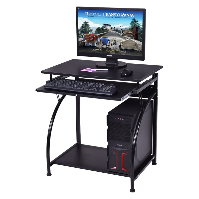 Spacious Wooden PC Laptop Computer Desk With Smoothly Slide-out Keyboard Shelf Assembly Required Metal Frame Computer DeskHW5385