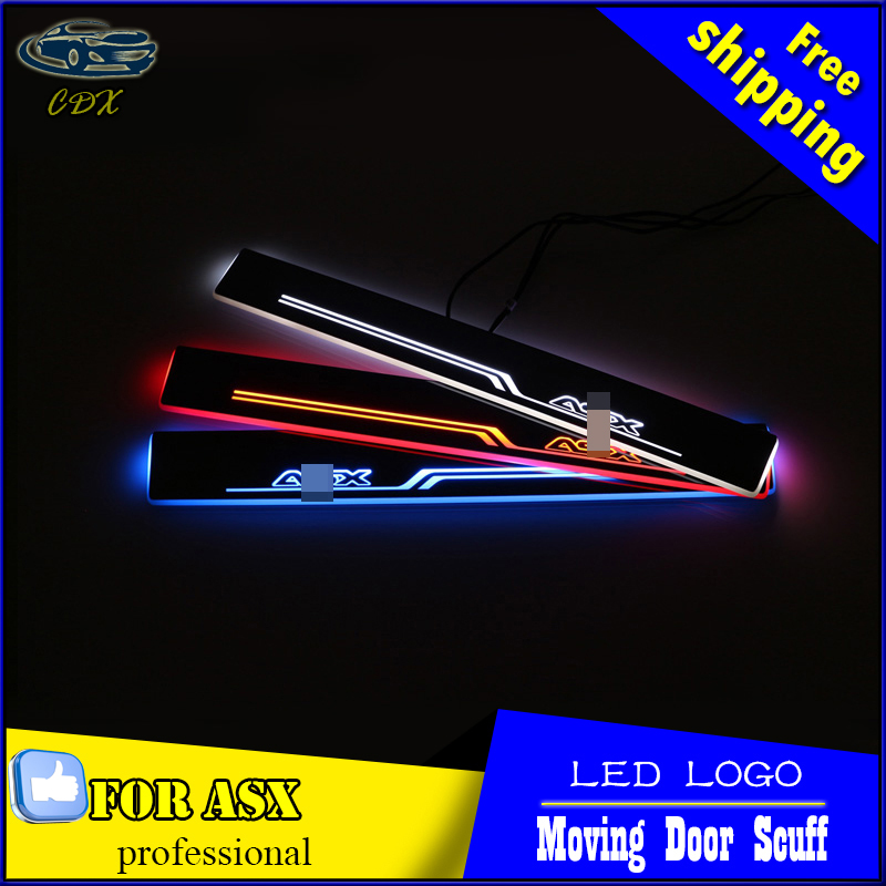 Car Styling Welcome pedal Door Sills Moving Scuff Plate Light Panel LED Light Dynamic Rubbing Strip For Mitsubishi ASX 2013-2015