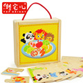 candice guo! Educational wooden toy puzzle animal lion panda bear get food match game early learning box 1pc