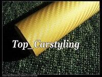 Золотой 3D углеродного волокна виниловая пленка для автомобиля с выпуском, как настоящие тканые листы из углеродного волокна стикер фольги