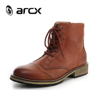 ARCX Leather Motorcycle Knight Short Boots Men Road Knight Boots Coffee Color Motorcycle Riding Casual Shoes