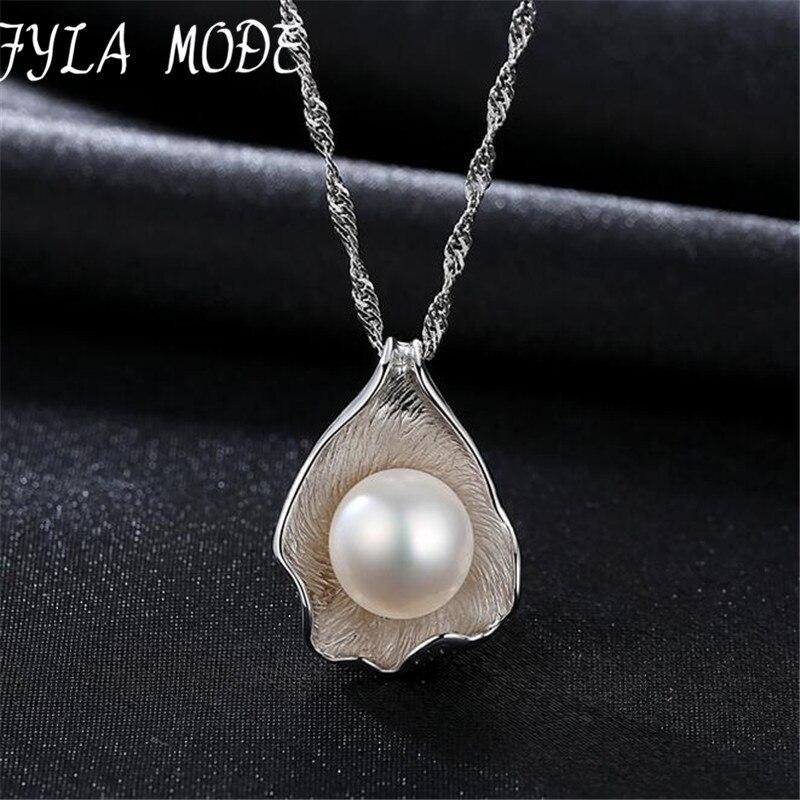 Fyla Mode 2017 Fashion 10 11mm White Grey Freshwater Pearl Pendant Necklace Hot Selling Fine 925