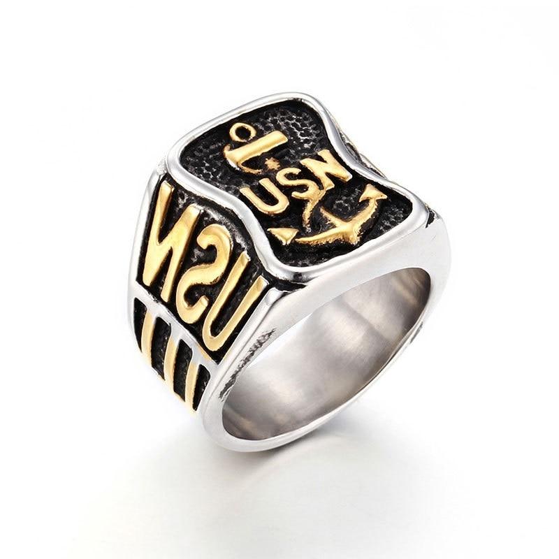 accd8f3dff05 Nueva moda punk Acero inoxidable cartas ancla plata y oro tamaño del anillo  de los hombres 7 a 14
