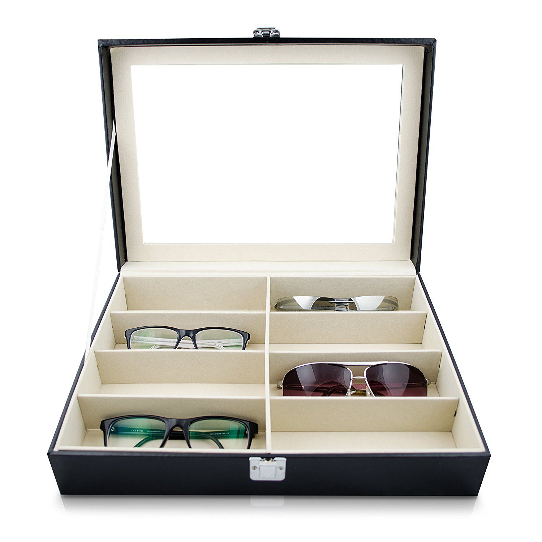 Eyeglass Sunglass Storage Box Imitation Leather Glasses Display Case Storage Organizer Collector 8 Slot organizer storage box