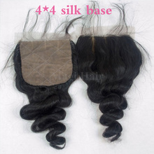 DHL Free Shipping Loose Wave Virgin Human Hair Silk Base Closure 4 4 Silk Base Top