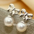 Free Shipping Natural Freshwater Pearl Earrings, 7.5-8mm pefectly round pearl, 925 silver accessory