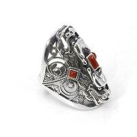 Ручной работы 100% Серебро 925 Богемия мощность ful кольцо с драконом удачи кольцо с регулируемым размером