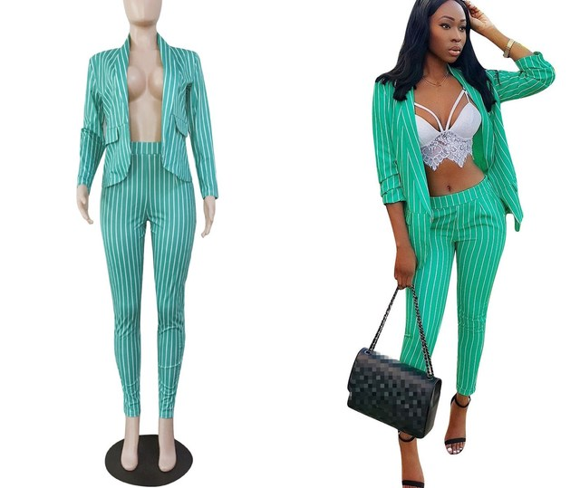New 2018 Autumn Women Notched Neck Two Piece Suits Safari Style Elegant Striped Blazers Pants Sets Long Sleeve Office Outfits