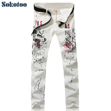 Sokotoo Men s fashion white wolf printed jeans Slim fit painted colored drawing denim pants Long