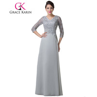 Grace Karin Mother Of The Bride Dresses Grey With Sleeves Chiffon Elegant Women Formal Evening Gowns
