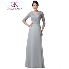 Grace Karin Mother Of The Bride Dresses Grey With Sleeves Chiffon Elegant Women Formal Evening Gowns Special Occasion Dresses