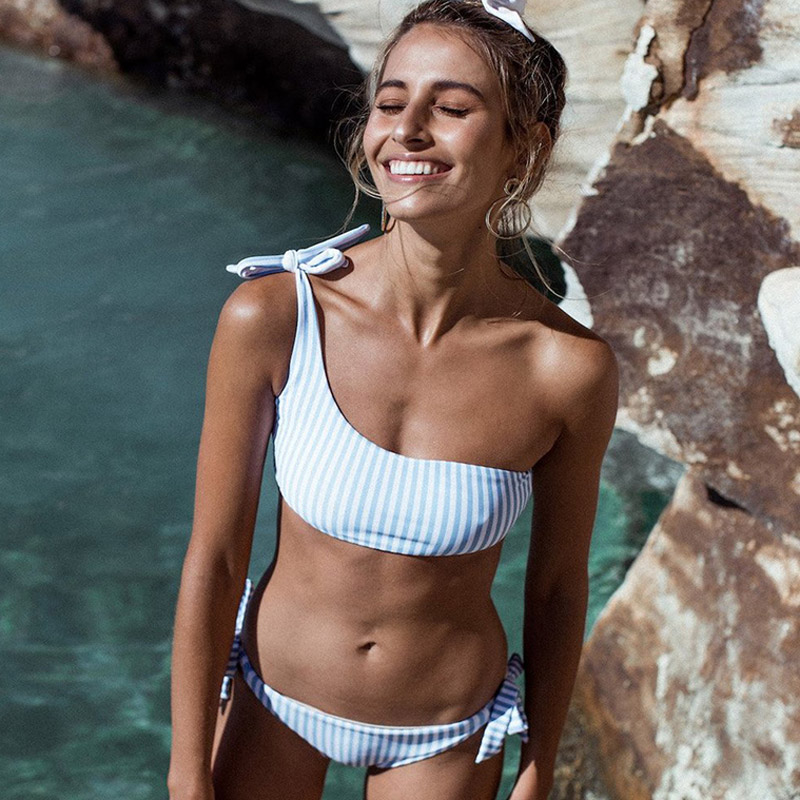 one shoulder swimsuit women sexy padded bikini striped bikini set low waist swimwear female adjustable swimming suit beachwear