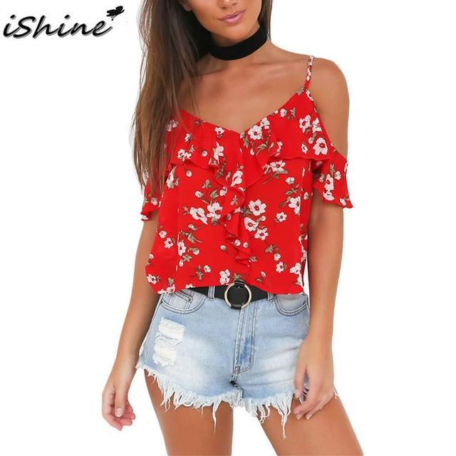 4be032cc9a826 iShine Ruffles floral print chiffon shirts women Sexy v neck cold shoulder  straps tops Summer Red beach boho tops shirts