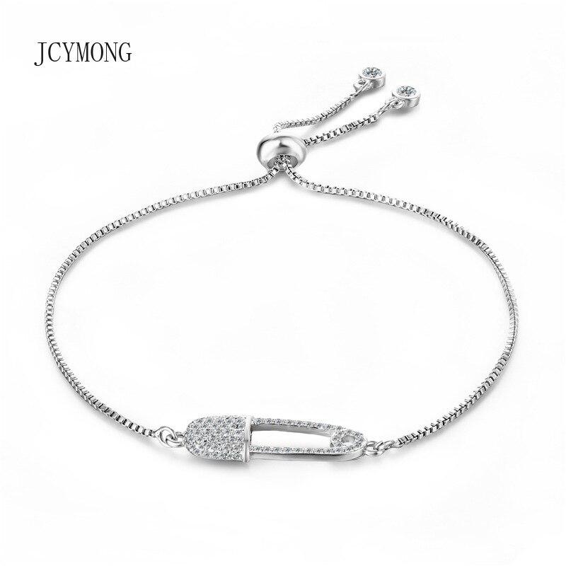 JCYMONG New Design Silver Color Elegant Cubic Zircon PIN Shape Charm Bracelet for Women Adjustable Pulseira Feminina Jewelry