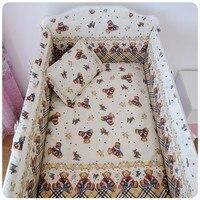 Promotion! 6PCS Bear Baby Crib Bedding Newborn Baby Bedding Set Cute Cartoon (bumpers+sheet+pillow cover)