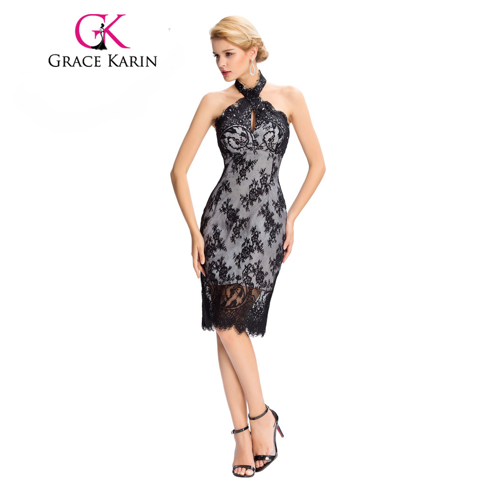 Gnade Karin Lace Cocktailkleider Elegante Schwarz Party Kleider ...