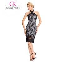 Grace Karin Lace Cocktail Dresses Elegant Black Party Gowns Floral Backless Halter Sexy Robe De Cocktail Short Prom Dresses 2018