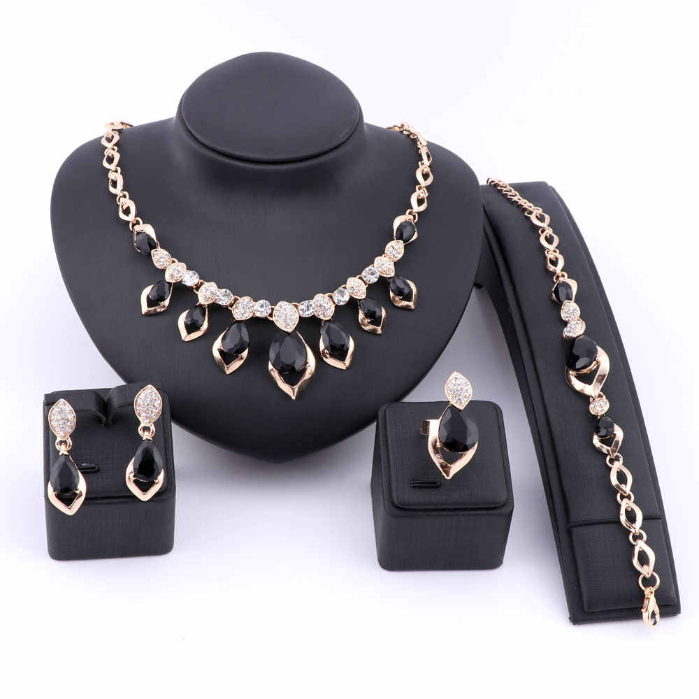 Wedding Dress Costume Women Party Gold Color African Beads Jewelry Sets Crystal Black Gem Necklace Bracelet Earrings Ring