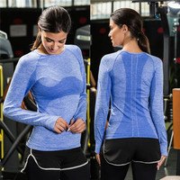 Dry Fit Women Running T Shirt Gym Long Sleeve Top Excercise Tshirt Training Sportswear Athletic Maillot