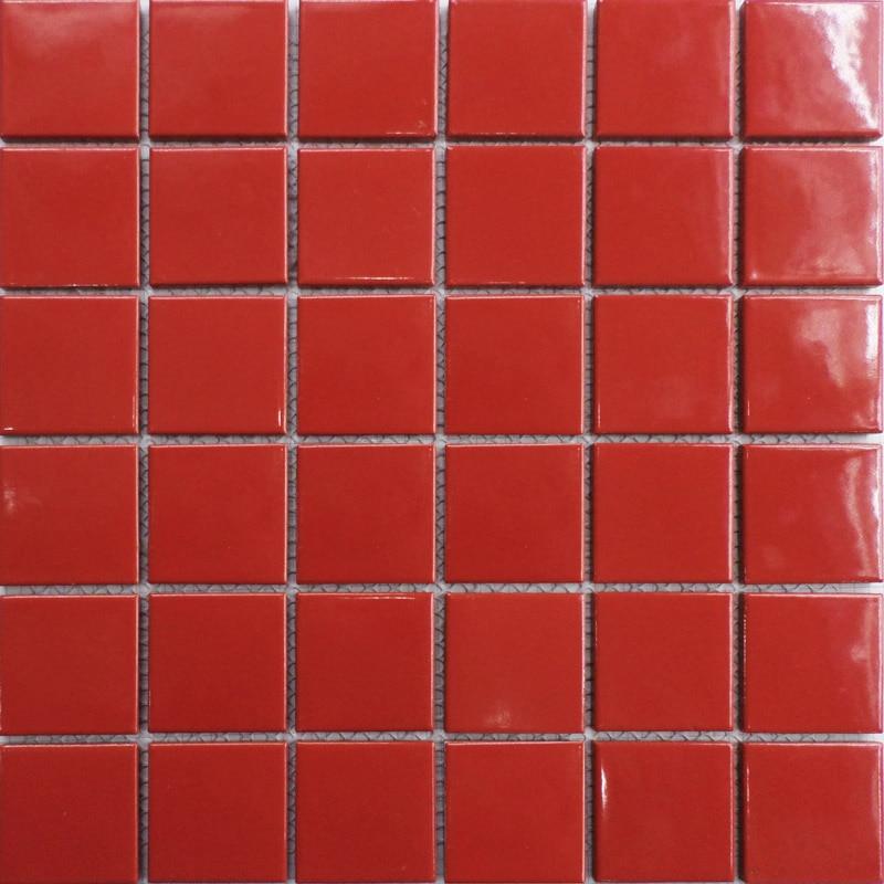 Buy Hot Red Square Ceramic Mosaic Tile Kitchen Backsplash Tile Bathroom