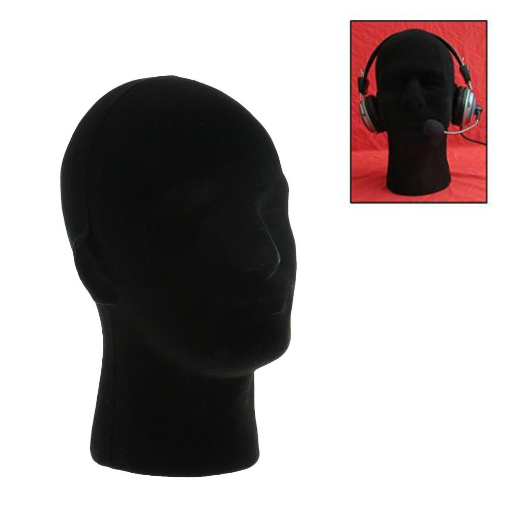 11 Male Styrofoam Foam Flocking Mannequin Head Wigs Hair Toupee Display Stand Model VR Headsets Glasses Mount Holder - Black ...