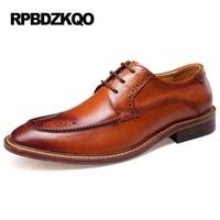 Обувь для дизайнеров стильный грубый башмак пятка формальный высокое качество платье коричневый офис итальянский плоские Настоящая кожа