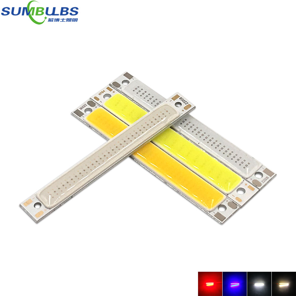 Sumbulbs 60*8mm 2V 3V COB LED Light Bulb 60mm Strip Red Bule Warm Cool White 1W 3W 3.7V LED Lighting Source for DIY Work Lamps diy 3w 270lm 6500k white light flat strip led module 9 10v