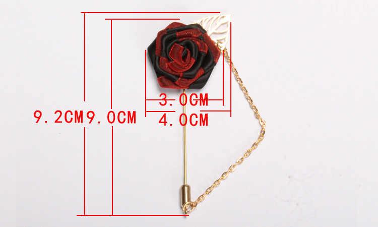 BoYuTe 10 piezas nuevo diseño flor Rosa solapa Pin con cadena hombre boda Rosa broche pines