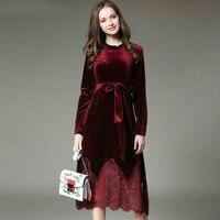 2017 новое осенне зимнее платье женское плюс размер вельветовое кружевное сшивание длинное винтажное элегантное женское платье Elbise офисное