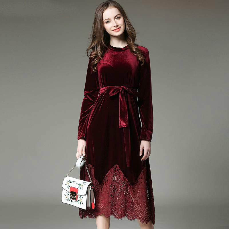 2017 New Autumn Winter Dress Women Plus Size Velvet Lace Stitching Long Vintage Elegant Robe Elbise