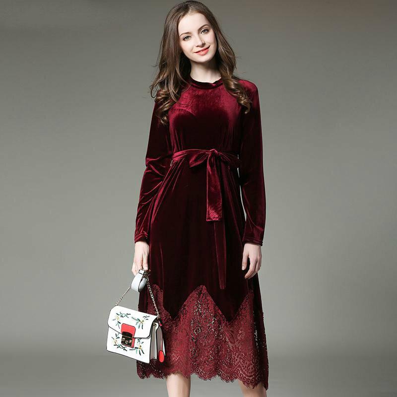 2017 Novo Vestido de Outono Inverno Mulheres Plus Size Veludo Costura Do Laço Do Vintage Elegante Robe Elbise Escritório Vestido Casual
