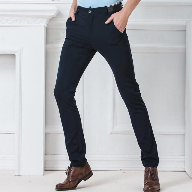 Spring Autumn Fashion slim fit Casual Pants Men Straight Trousers Dress Men Elastic Business Suit skinny Pants For Man 4