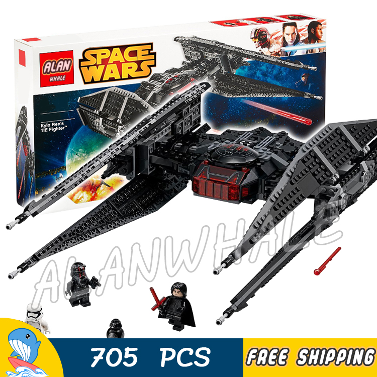 705pcs Space Wars Kylo Ren's Tie Fighter First Order Starship 05127 Model Building Blocks Toys Bricks Games Compatible With Lego 957pcs space wars jedi defender class cruiser universe starship 05085 model building block toy bricks games compatible with lego