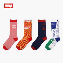VVQI harajuku cool women crew socks streetwear tube japanese cute rainbow alien hip hop colorful men plus size