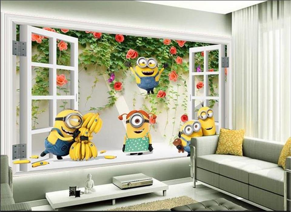 Custom 3d Photo Wallpaper Mural Kids Room Non Woven Wall Sticker Window  Flower Minions 3d Painting Sofa TV Background Wall Mural