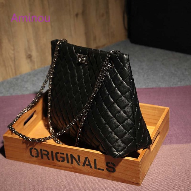 2018 Luxury Brand Women Plaid Bags Large Tote Bag Female Handbags Designer Black Leather Big Crossbody Chain Messenger Bag Girl 2