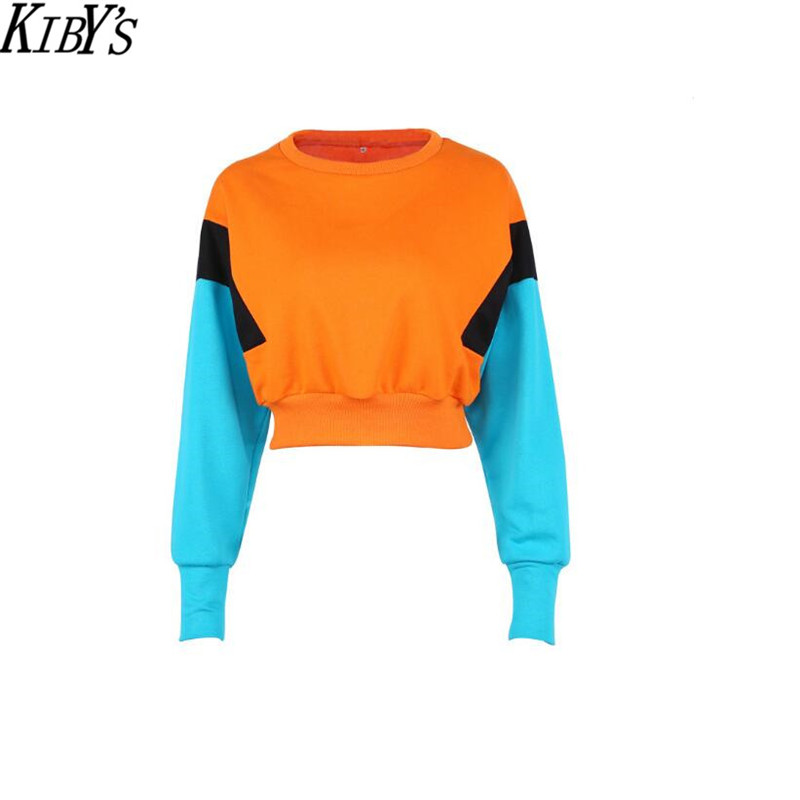 Fashion Women Cute pinkycolor Orange Hoodies Long Sleeve Loose Crop Top Sweatshirt Casual Patchwork womens hoodies 2018 New