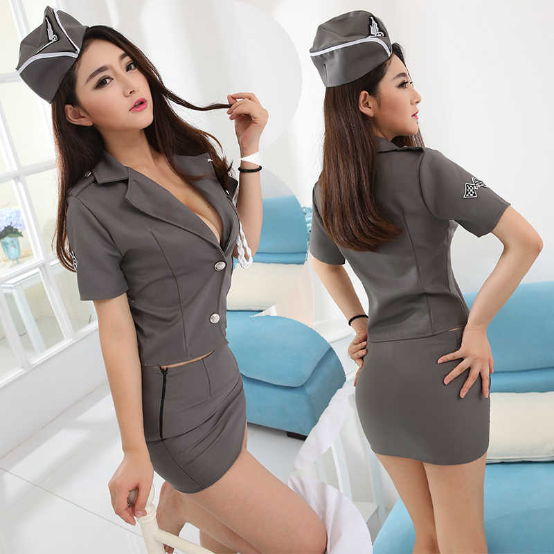 Flight Attendant Role Play Dress Women Erotic Cosplay Uniform Costume Sexy Lingerie Hollow Porno Air Hostess Underwear