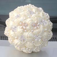 MissRDress великолепный жемчужный Свадебный букет цвета слоновой кости свадебные цветы искусственные розы свадебные букеты для свадебных аксе...