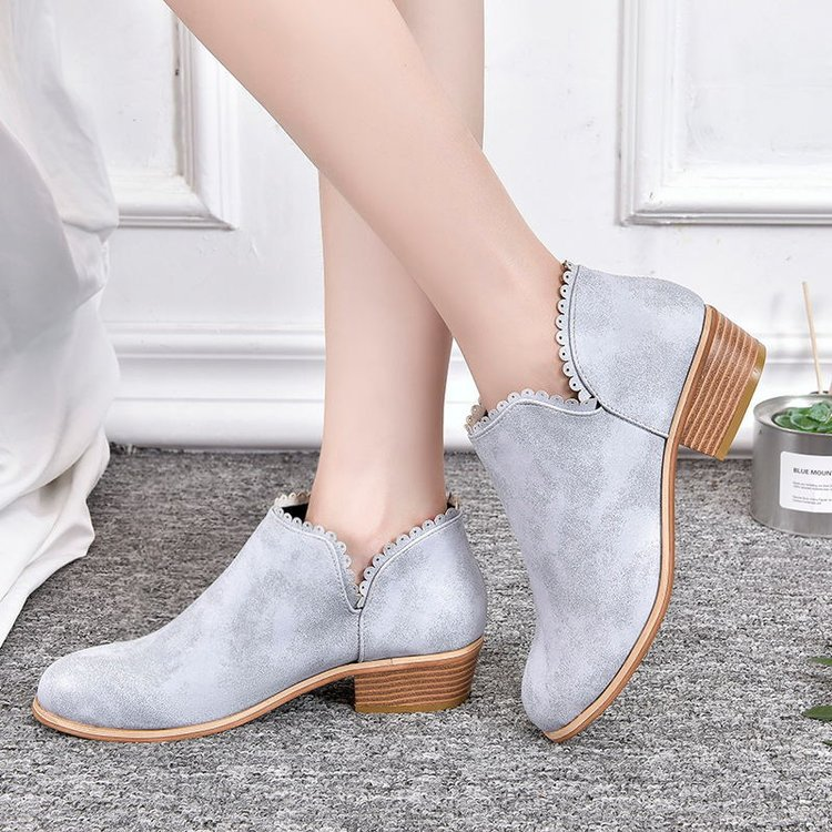 Spring Carved Women's Boots Ankle Martin Boots Women's Shoes Chelsea Bottes Preppy Style Slip On Square low Heel Botas Female